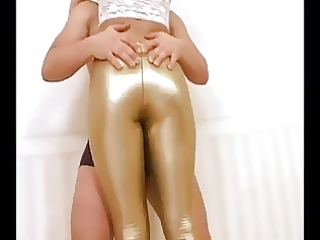 gal in hot latex leggings getting wicked with her