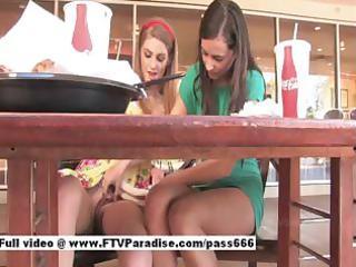 fantastic astonishing gals public flashing bra