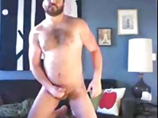 large hirsute beard jackoff - paja de un osazo