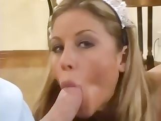 sexy blond maid takes care of her boss by
