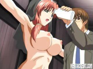 fastened manga redheaded nun with biggest mounds
