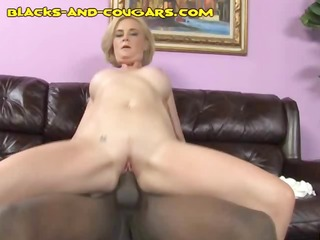 hot golden-haired cougar rides his monster dark