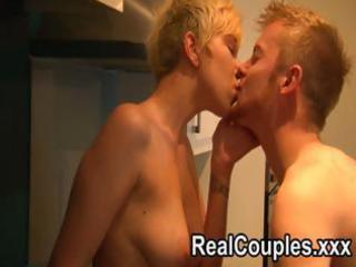 horny golden-haired wife swallows his meat and