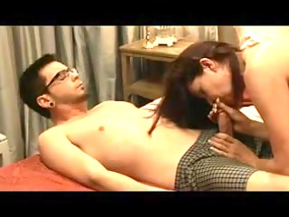 mommy and young boyfrend in badroom