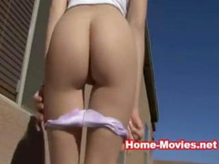 gorgeous youthful dark brown outdoor striptease