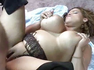 curvy cutie is on her back and getting drilled