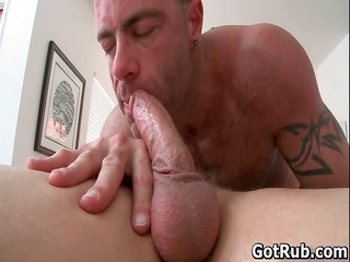 tattooed hunk receives his smooth a-hole rimmed
