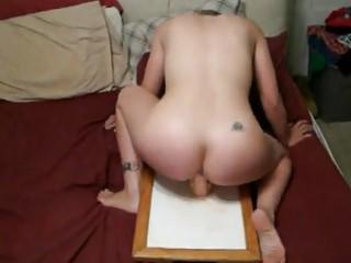 wife riding fake penis hard