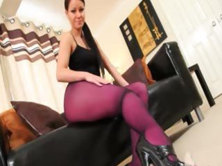 purple nylon hose on fluent hottie