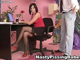 floozy in nylons acquires voided urine in her