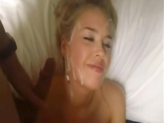 cute golden-haired gives oral job and acquires