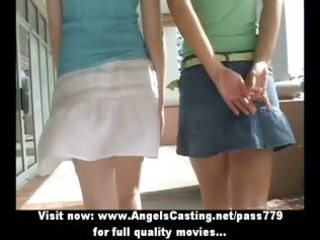 superb hot lesbo cuties walking and talking