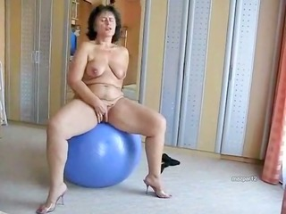 obese aged wench on her blue ball