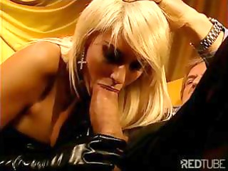 chick blond playgirl in thigh-high boots receives