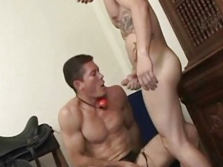 fellow with gag taking hawt sex cream into his